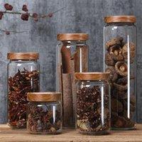 Хранение бутылки JARS прозрачный стеклянный стеклянный канистр кухня с бамбуковой крышкой зерна листьев кофе в зернах конфеты банка
