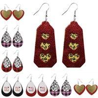 Valentines Day Gift Love Heart Pattern Teardrop Dangle Faux Leather Earring For Women Fashion Jewelry Gift