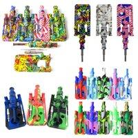 Drucken Silikon-Nektar-Sammler-Kits mit 14mm Titan-Nagelöl-Kollektor Strohspitze Großhandel Rauchen Silikon-DAI-Rig