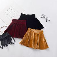 Детская одежда для девочек Золотой бархат плиссированные юбки повседневная высокая талия детей сплошной цвет юбка 2021 весна осень мода детская одежда Z2081
