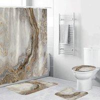 Conjunto de cortina de ducha blanca de mármol con alfombra de baño sin deslizamiento alfombra alfombra moderna cortinas de baño cortinas inodoro cubierta de tapa de inodoro decoración del hogar 201030