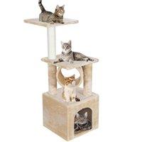 36 بوصة القط كبير شجرة برج النشاط مركز اللعب الشقة شجرة السرير الأثاث خدش برج هريرة منزل البيج الساخن