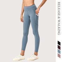 Rw mulheres leggings exercício yoga running side bolso fitness agachamento à prova de quadril up legging calça corredor treinamento apertado alta cintura1