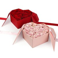 هدية التفاف شكل قلب الفاخرة روز زهرة مربع الرومانسية اعترافات diy صناديق الترتيب الزفاف