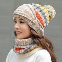 Winter women's keep warm woolen hat Outdoor sports windproof knitted hat Cold proof ear protection cap scarf 3 pcs set Party Hats CCA2734