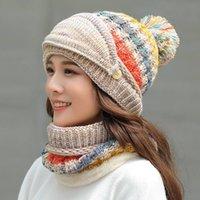 Hiver Women Women's Garder Chapeau de laine chaude chapeau de plein air chapeau tricoté tricoté à la coupe à froid Proof Protection de l'oreille Cap Scarf 3 PCS Set Party Hats CCA2734