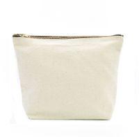 Oivefeet, LG0046, Nature plaine Toile Coton Cosmetic Sac de cosmétique Maquillage Gold Zipper Pochette Travel Trajet Organisateur Personnalisé Accepter