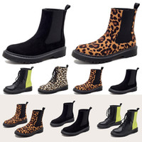New fashion womens boots balck Leopard green Color matching slip-on Thick flat bottom winter boot Lace-up booties designers outdoor 35-40