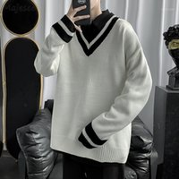 Men Pullover Simple Striped Preppy Style V- neck Couples Knit...