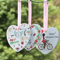 Sevgililer Günü Kolye Yuvarlak Kalp Şeklinde Seramik Süs DIY Sevgililer Günü Hediye Aşık Güz Kolye Süsleme W-00580