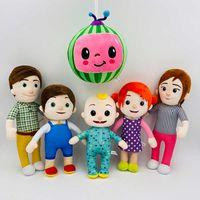 2020 Cocomelon 플러시 장난감 부드러운 가족 코코 멜론 JJ 여동생 동생 아빠 엄마 인형 어린이를위한 인형 교육 장난감 선물 DHL 배송