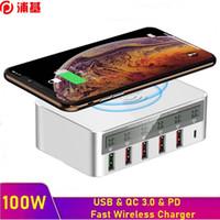 100W Multi USB Fast PD شاحن شحن سريع QC 3.0 شاشة LCD شاحن لاسلكي تشي لآيفون 8 زائد XS X 11 برو ماكس