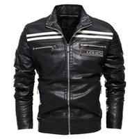 Veste à glissière pour hommes Jacket Cuir Cuir Noir Moto Jacket Hommes Stripe Design Slim Fit Street Street Manteau Automne Hiver Mode Haut 201104