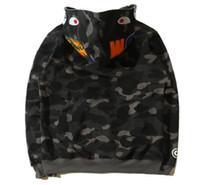 Camisola de Designer de Novos Homens Banhando Cabeça de Tubarão Cabo de Camuflagem Macaco Macaco Completo Zíper Jackerbreaker Hoodie Hip-Hop Designer Masculino