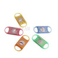 Coupe-cigare en plastique Métal Portable Tête ronde Coupe-cigare 5 couleurs Accessoires cigares en option Outil de fumage