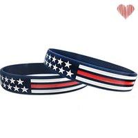 Dünne blaue Linie Amerikanische Flagge Armbänder Silikon Armband weich und flexibel groß für normale Tag Party Geschenke 113 N2
