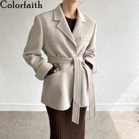 Kadın Takım Elbise Blazers Colorfaith 2021 Sonbahar Kış Düğmeleri Cepler Ceketler Çentikli Vintage Büyük Boy Kemer Ofis Tops JK983