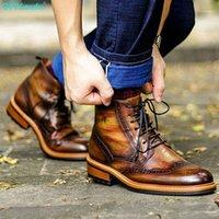 QYFCioufu Neue Männer Stiefel Echtes Leder Hohe Qualität Freizeit Lace-up Mann Schuhe Mode Ankle Boots männlich1
