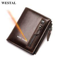 Westal Graving мужской кошелек натуральная кожаный кошелек для мужчин тонкие кошельки монеты кошелек мужские кошельки кожаные держатели карт 6046