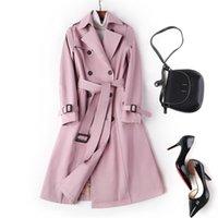 Donne lunghe giacca a vento kaki rosa doppio petto trench cappotto primavera autunno plus size chiuso cintura per ufficio lady business soprabito