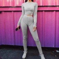 Kadın Eşofman Sportif Egzersiz Aktif Giymek Rahat Eşleştirme Setleri Kadınlar Uzun Kollu Skinny Bodycon Çizgili Eşofman Üst ve Tayt Seti