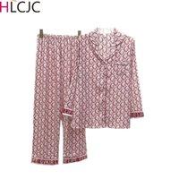 Kadınlar İpek Pijama Setleri Saten Pijama Pijama Uzun Kollu Büyük Boy Moda Pijama Kız Gecelikler Suit Ev Yeni Stil 2020 Y200708