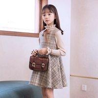 niños diseñador ropa chicas 2020 marrón mujer coreano jersey tripulación cuello otoño falda conjunto sólido color extranjero algodón ropa de niño