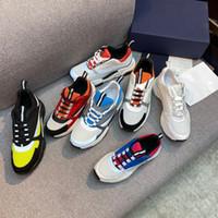 2021 Designeur B22 Sneaker Cuir Blanc Calfskin Sneakers Top Technical Technical Femmes Sneakers Sneakers Bleu Grey Designer Chaussures avec boîte