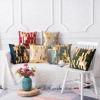 Cuscino / cuscino decorativo velluto e golden texture plaid ricamo decorativo coperture decorativi design moderno design di lusso euro federa cushon cov