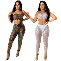 Gorgeous Sequins Sexy Nightclub Two Pieces Outfits Sparkle Sequins Spaghetti Neck Cropped Top Sleevess + Skinny Pants Party Sets 2021