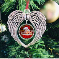 Sublimation Blanks Angel Wing Ornament Decorazioni natalizie Angelo Ali Forma Blank Aggiungi la tua immagine e sfondo DDF3474