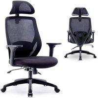 كرسي مكتب واكو، كرسي مكتب مريح، كرسي شبكة الكمبيوتر مع مسند رأس قابل للتعديل وذراعين، وظيفة الإمالة وقفل الموقف، أسود