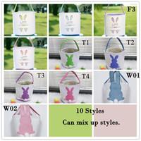 Panier de stockage d'oeufs de Pâques Bunny Bunny Bucket Creative Pâques Cadeau Sac avec décoration de la queue de lapin 8 Styles