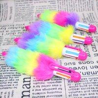 Оптовая горячая распродажа 2021 цветной плюшевой формы 6 цветная шариковая ручка студент мультифункциональный творческий пресс Pen Office канцелярские товары многоцветные ручки