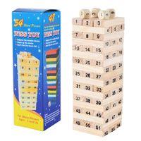 54 stücke Bausteine Spielzeug Lustiger Mini Holzturm Hartholz Domino Stapler Extrakt Montessori Pädagogisches Spiel Für Kinder Geschenke Y1130