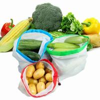 Réutilisable Produits Sacs Shopping Sacs Mesh Légume Jouets de fruits de Légumes De Stockage Pochette Sac à main Accueil Sac de stockage YYS2150