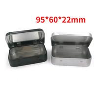 Małe Prostokąt Blaszane Skrzynki Odwróć Żelazę 95x60x21mm Czarny Srebrzysty Kolor Przypadki Mint Prezent Prezent Prezent Taszyki Trwałe 1 5JSA G2