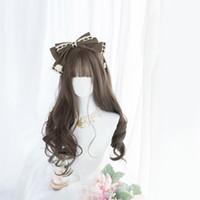 Синтетические парики Cosplay Lolita Высокое Термостойкое Волокно Женская Большая Волна Длинный Кудрявый Браун Ежедневный Парик Пушистый Натуральный стиль