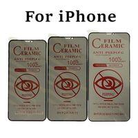 HD Soft Cerâmico Anti-espião Protetor de tela para iPhone 11 12 Pro Max 12mini Filme de privacidade no iphone xr xs max se 6 7 8 plus