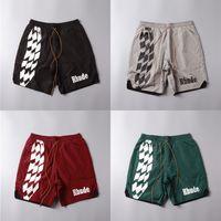 Streetwear Rhude Racing Track Impression Beach Shorts Hommes Femmes 1: 1 Haute Qualité Summer Mesh Mesh Duech Doublure Doublure Rhude Shorts X1116