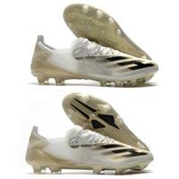 الرجال لكرة القدم أحذية ADS X الشفافة + FG AG إنفلايت الأحذية أبيض معدني الذهب الأسود الأساسية PRE ORDER X GHOSTED.1 FG FTWWHT كرة القدم المرابط