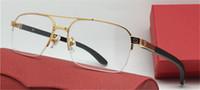 Best Selling Glasses Metallo Metro telaio telaio placcato oro Ultra-light Occhi ottici Templi di legno Uomo Business Style Glasses High Quality00055