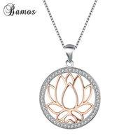 Kolye Kolye BAMOS 100% Gümüş Renk Lotus Çiçek Kolye Kadınlar Için Büyük Yuvarlak ChokerChain Moda Takı Hediye