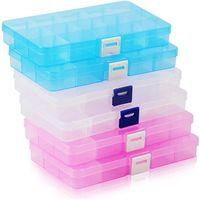 Caixa de organizador de jóias de plástico Caixa de exibição transparente 15 grades Caixas de armazenamento de plástico Beads Brinco Recipiente de Jóias