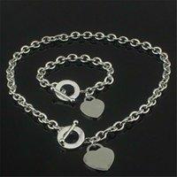 هدية عيد 925 الفضة الحب قلادة وسوار مجموعة الزفاف بيان مجوهرات القلب قلادة القلائد الإسورة مجموعات