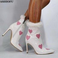 Çizmeler Ashiofu Bayan Stiletto Topuk Kalp Şekli Ayak Bileği Patik Akşam Noel BFCM Parti Balo Moda Kış Kısa Boots1
