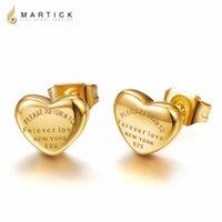 Martick Gold-Color Love Brincos 316L Carta De Moda de Aço Inoxidável Cor Prata Cor Do Coração Brincos Para As Mulheres Nunca Fade E198