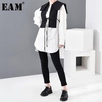 Женщины Блузки Рубашки [EAM] Женщины Белая повязка Сплит Сплит суставов Двух частей Блуза Отворачивается с длинным рукавом Свободная подходящая рубашка Мода Весна Осень 2021