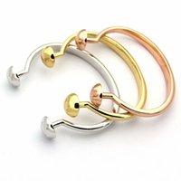 Moda Bileklik Bayan Titanyum Çelik Iki Yuvarlak Tırnak V Başlar 18 K Altın Kaplama Açık Bilezik 3 Renk