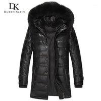 Pelle da uomo Faux Dusen Brand Lunghi cappotti Uomo Vera pelle di pecora 90% Duck Slim Style Collar Giacca invernale 61L15681